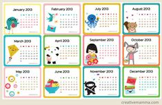 Free Printable Calendars  Templates for 2013  2014 - Monthly and Yearly