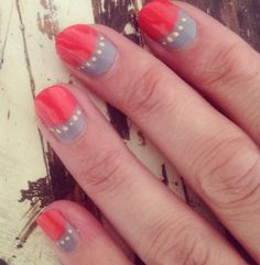 Red grey nail art