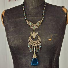 Aquas and Teal Art Nouveau Bohemian Gablonz Lady Crescent Moon Necklace Czech Gypsy