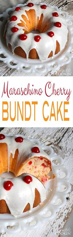 Make this absolutely delicious Maraschino Cherry Bundt Cake for your next party or get together! Such a pretty presentation! Doctor Cake, Cherry Vanilla Cake Recipe, Cherry Loaf Cake, Cake Mix Recipes, Dessert Recipes, Cake Cookies, Cupcake Cakes, Yummy Cakes, Christmas Bundt Cakes