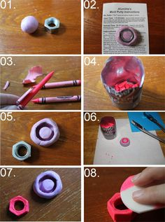 DI(fr)Yday: How to make chunky neon rings with crayons and a metal hardware nut  by Célèste of Fashion is Evolution, via Flickr
