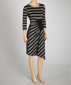 Look what I found on #zulily! Black & Silver Stripe Shift Dress #zulilyfinds