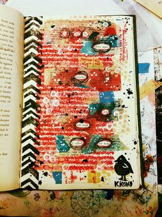 Love this idea for an art journal page, use a book paper and reveal keywords to tell the story