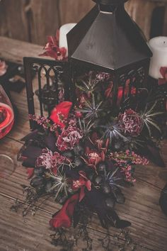 burgundy and dark elegant fall wedding centerpiece in rose / gothic wedding decorations/ fall and winter wedding centerpieces Mod Wedding, Floral Wedding, Fall Wedding, Dream Wedding, Black Wedding Decor, Black Weddings, Gothic Wedding Decorations, Geek Wedding, Black Decor