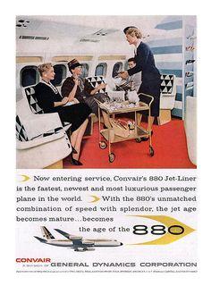 Vintage Airline Advertising Convair 880