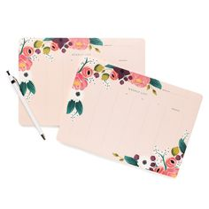 Rifle Paper Co. Pink Floral Weekly Desk Pad $12