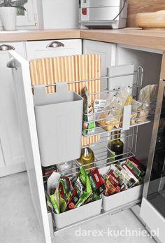 Biała kuchnia z drewnianym blatem - Darex Szczecin Kitchen Cart, Home Goods, Organization, Bed, Modern, Furniture, Home Decor, Home Kitchens, Getting Organized