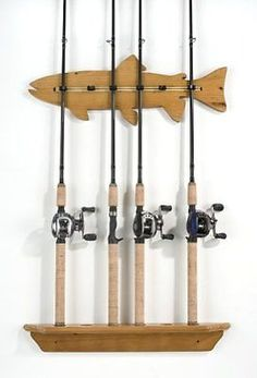 Sportsman's Guide has your Organized Fishing Fish Wall Rod Rack available at a great price in our Fishing Rod Racks collection Fishing Rod Stand, Fishing Pole Storage, Fishing Pole Holder, Pole Holders, Wall Racks, Fishing Tips, Fishing Stuff, Ice Fishing, Fishing Shack