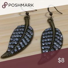 BOGO Rhinestone Leaf Earrings Aged gold tone leaf dangle earrings with rhinestones.  BOGO items $5 or less! Just make a bundle & send me an offer, or let me know by tagging me in the comments below & I'll make a custom bundle for you! Jewelry Earrings