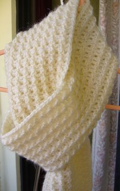 Ivory crochet textured scarf