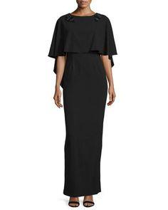TC632 ZAC Zac Posen Sydney Embellished Popover Gown, Black