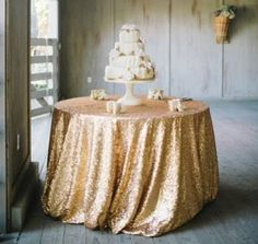 Sequin Tableclothes on some tables - Champagne, Gold, Fuschia.