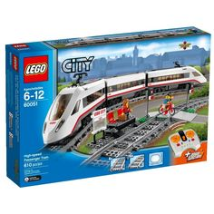 Travel around the city in no time with the motorized LEGO® City High-speed Passenger Train! Operate the infrared remote control to power around the curved tracks at top speed. This streamlined, super-efficient train has a high-speed fro Lego City Train, Lego City Sets, Lego Trains, Lego Sets, Toys R Us, Locomotive, Legos, 10 Year Old Boy, Lego Construction