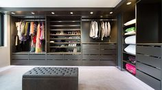 this Stegbar-designed luxury wardrobe room makes use of every inch of wall space.
