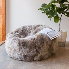 A sumptuously soft New Zealand sheepskin beanbag with a durable, non-slip leather base, perfect for sinking into. Large Bean Bags, Kids Bookcase, Pretty Bedroom, Nursery Furniture, House Furniture, Childproofing, Dream Rooms, Paper Clip, My Room