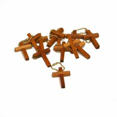 The wooden cross keychain is a great gift for a Sunday school class or for vacation bible school.  The wood cross key chain is also a great giveaway for any religious event.  Coming in a package of 12 you can get a lot of crosses for a little price.  The cross is made of wood and has a metal beaded keychain. I used them as little presents at a get together.