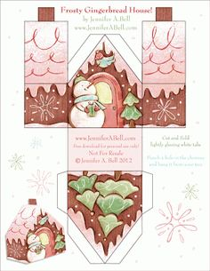 Paper Gingerbread house 3 Template free download
