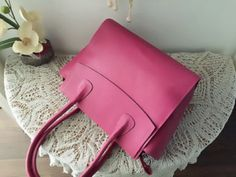 Leather tote, Pink leather tote, Leather satchel tote, Leather tote women, Leather bag, Leather tote bag, Leather purse, Pink bag