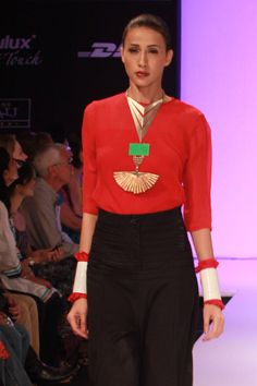 Industrial modern jewelry by Indian designer Suhani Pittie. Plated copper on color blocking!