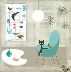 mid century interior design illustration - Yahoo Image Search Results