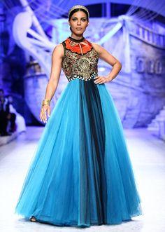 India Bridal Fashion Week 2013 JJ Valaya teal anarkali