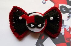 Nerd Buy of the Day:  sogeekchic:  Harley Quinn bow ($6.50) available from GeeksAreChic  Check out the shop for other geeky, crocheted bows!