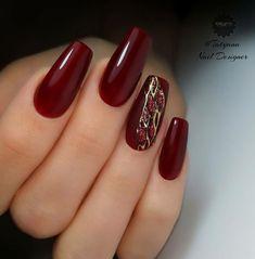 Blue Gel Nails, Maroon Nails, Burgundy Nails, Cute Acrylic Nails, Gel Nail Art, Cute Nails, Elegant Nails, Stylish Nails, Manicure Nail Designs