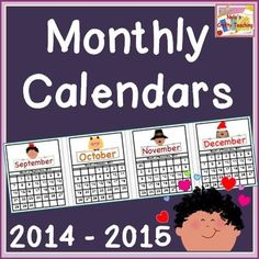 Just in time for Back to School! This is a classroom monthly calendar that spans from August 2014 to December 2015. Updates each year! #backtoschool $