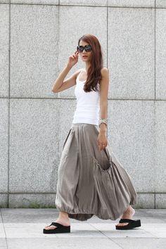 Lagenlook Grey Side Pockets Casual Pleat Long Maxi Skirt