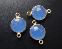 Blue Chalcedony Gold Bezel 2 Ring 10mm Connector Beads