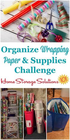 Here are step by step instructions for how to organize wrapping paper and other gift wrap supplies in your home {part of the 52 Week Organized Home Challenge on Home Storage Solutions Paper Bag Gift Wrapping, Gift Wrapping Supplies, Paper Gift Bags, Paper Gifts, Wrapping Papers, Gift Bag Organization, Gift Bag Storage, Home Organization Hacks, Organizing Ideas