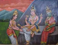 Lord Murugan receives the Vel (divine lance) from His Father Lord Siva