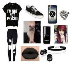 """""""Emo outfit"""" by zuzanka-zalesakova ❤ liked on Polyvore featuring WithChic, Vans, Chanel, Miss Selfridge, black, Dark and emo"""