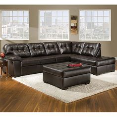 The couch I want from Big Lots!!! Don't know about the leather ottoman, maybe a coffee table better???