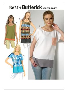 Plus Size Sewing Patterns, Clothing Patterns, Shirt Patterns For Women, Tunic Sewing Patterns, Burda Patterns, Quilt Patterns, Costura Plus Size, Loose Fitting Tops, Pli