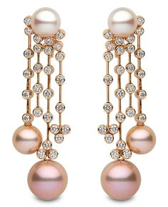 Yoko London pink and white pearl and diamond chandelier earrings.