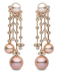 Yoko London pink and white pearl and diamond chandelier earrings.