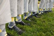 Perfect groomsmen socks for a yellow and grey theme...