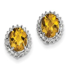 Sterling Silver Whiskey Quartz and Diamond Earrings QE9849WQ