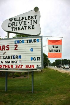 Wellfleet Drive in movie theater-one of the few left in the country. Flea market by day! Wellfleet, Cape Cod.