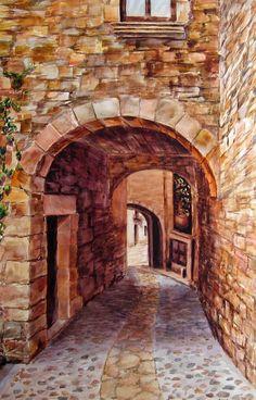 Calle empedrada con arcos (by dpedro)