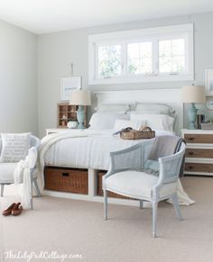 Master Bedroom Bedding - The Lilypad Cottage-  I love the storage under the bed and the you are my sunshine pillow