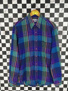 d691c7d89 Vintage 90's Multicolor Flannel Medium Plaid Checkered Tartan Hipster  Minimalist Grunge Rustic Flannel Buttondown Shirt Size M