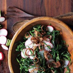 Collard Green and Radish Slaw with Crispy Shallots recipe | Epicurious.com