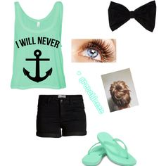 Summerr by gretchieeee on Polyvore featuring polyvore, fashion, style, Pieces, Ocean Minded and PINK BOW