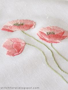 Dancing poppies: hand embroidery freebie!  #floralembroidery #poppiesembroidery #embroideredflower