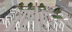 La visuale della nuova piazza Kennedy dall'alto. Visibili i portali