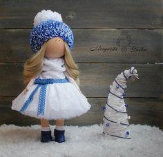 Muñeca decoración Navidad muñeca muñeca Interior rubia azul blanco arte muñeca muñeca niña muñeca regalo muñeca única mágica muñeca por Master Margarita Hilko