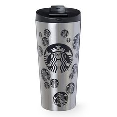 An insulating stainless steel tumbler with polka-dot Siren logo pattern, part of the Starbucks Dot Collection.
