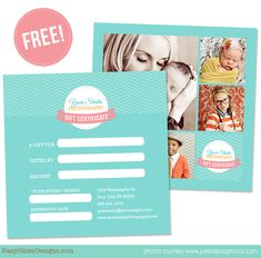 FREE Gift Certificate Template for Photographers!     #photography #photographer #template #gift certificate #gift card #free
